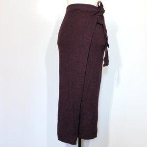 Free People Knit Long Wrap Skirt Linen